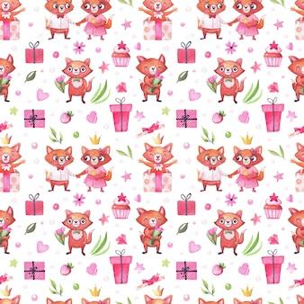 Akwarela wzór z uroczymi lisami na święta, walentynki, urodziny i inne