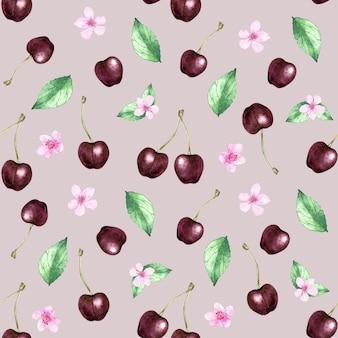 Akwarela wzór z wiśnią