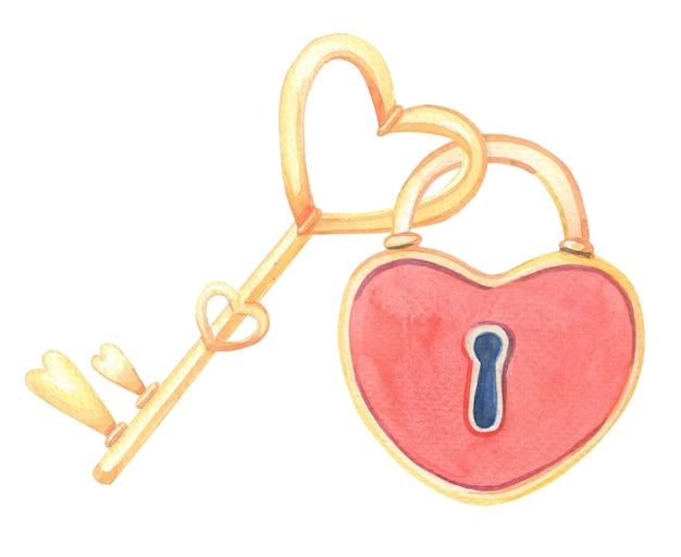 Akwarela zamka w postaci czerwonego serca i klucza na białym tle. akwarela ilustracja na walentynki.