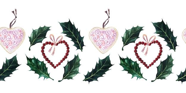 Akwarela zestaw bezszwowych granic na świąteczne motywy noworoczne i świąteczne