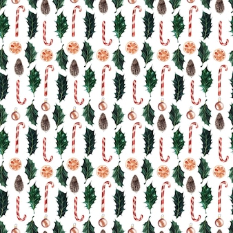 Akwarela zestaw bezszwowych wzorów na świąteczne motywy sylwestrowe i świąteczne
