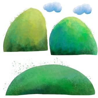 Akwarela zestaw chmur, zielonych wzgórz i pól