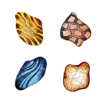 Akwarela zestaw kolorowych kamieni morskich kamyki do akwarium abstrakcyjna ilustracja skał
