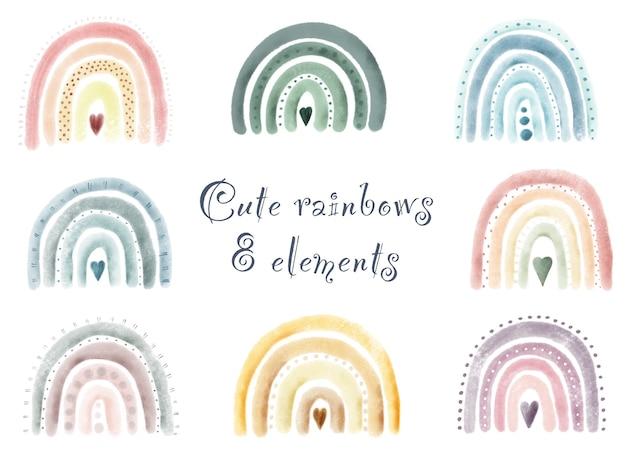 Akwarela zestaw ręcznie malowane słodkie tęcze. pojedyncze elementy