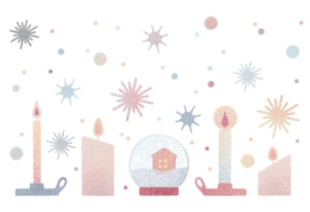 Akwarela zestaw vintage boże narodzenie ilustracja na białym tle świece w świeczniku