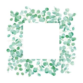 Akwarela zielona rama kwiatowy z eukaliptusa. ręcznie malowane z gałęziami eukaliptusa.