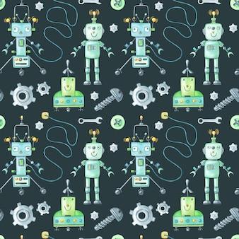 Akwarela zielony robot