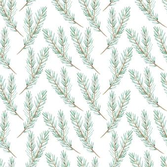 Akwarela zielony sosnowy oddział bezszwowe tło. boże narodzenie wzór. zimowy las niekończący się ręcznie rysowane ilustracja botaniczna.