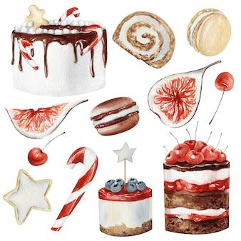 Akwarela zimowe desery świąteczne
