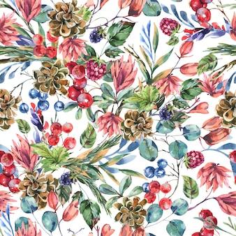 Akwarela zimowe kwiaty wzór