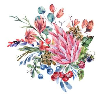 Akwarela zimowe kwiaty z miejsca na kopię