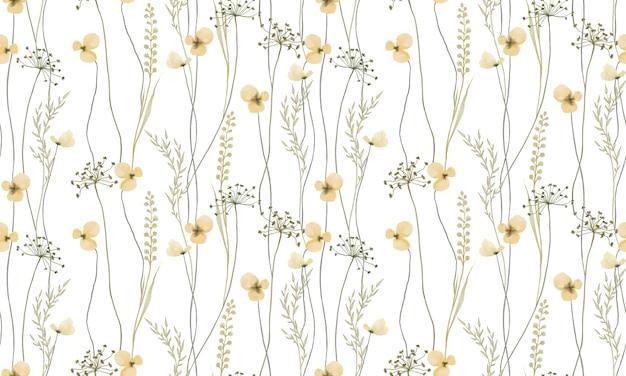 Akwarela żółte kolory wzór kwiatów na białym tle