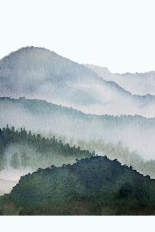 Akwarele górskie tło rysowane pędzlem. niebieskie farby natura na tapeta tekstura papieru do projektowania, drukowania, okładki książki, tło, jasne tło akwarela. abstrakcyjna ilustracja
