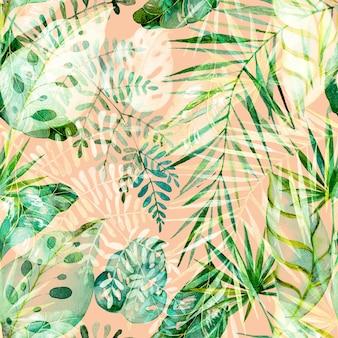 Akwarele malowane tropikalne liście i gałęzie. kolorowa egzotyczna kolekcja kwiatów palmy, monstera, liści bananowca.