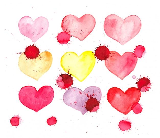 Akwarele malowane upuszczone serca - walentynki karty