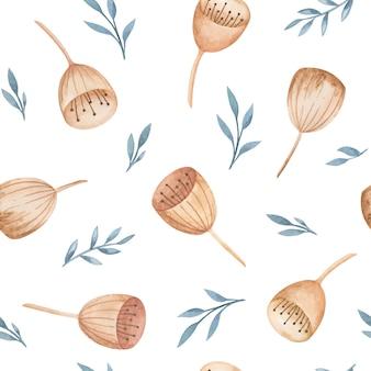 Akwarele niezwykłe dzwony, wzór dzikich kwiatów, delikatny nadruk na tkaninie, projekt tkaniny