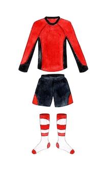 Akwarele przedstawiające czerwono-czarną koszulkę piłkarską z długimi rękawami i podkolanówki sport