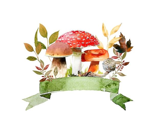 Akwarele ręcznie malowane jesienne grzyby i liście ilustracja