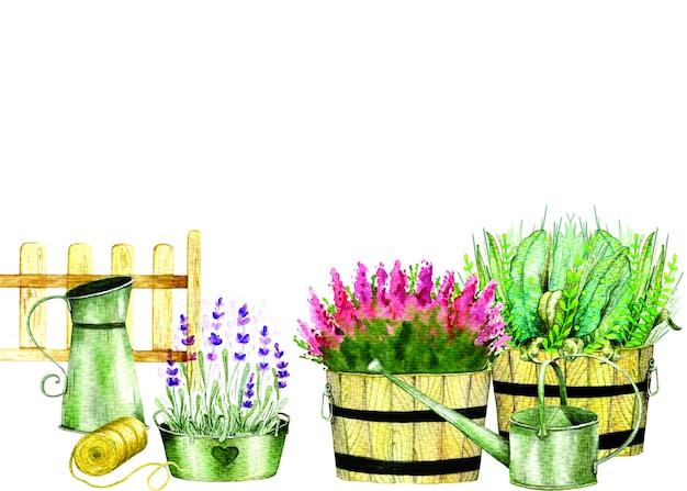 Akwarele ręcznie rysowane elementy ogrodowe z doniczkami, kwiatami, narzędziami ogrodniczymi, drewnianym płotem i ptasznią.