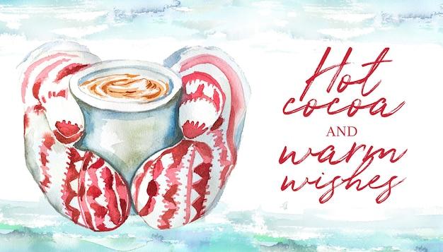 Akwarele ręcznie rysowane karty zimowe. ręka w rękawiczkach trzymających projekt gorącego kakao.