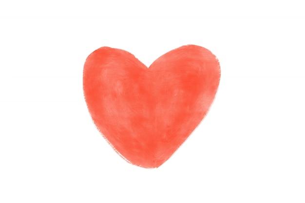 Akwarele serca na białym tle
