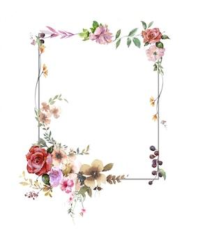 Akwarele Z Liści I Kwiatów, Premium Zdjęcia