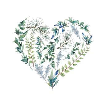 Akwarele zimowe rośliny serca. ręcznie rysowane ilustracja kwiatowy na białym tle. naturalna etykieta graficzna: sylwetka serca składa się z liści i gałęzi