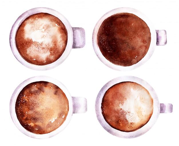 Akwareli ilustracja kawowy i czekoladowy napój z batożącym mlekiem w kubku