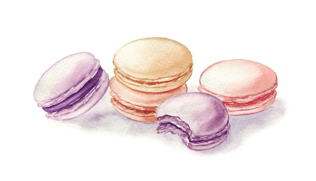 Akwareli ilustracja macarons odizolowywający na bielu. francuski deser