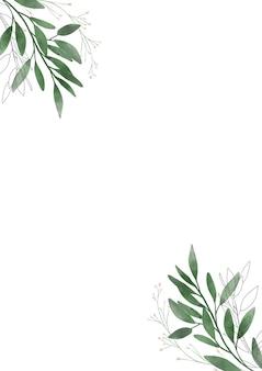 Akwareli pocztówka z liśćmi na białym tle. zaprojektuj szablon z miejscem do drukowania