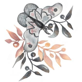 Akwareli ręka rysująca abstrakcjonistyczna ilustracja ćma i gałąź liście.