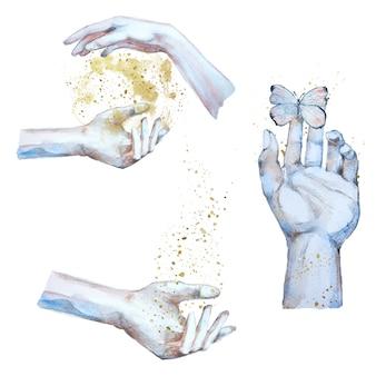 Akwareli ręki robi magicznej ilustraci. zestaw clipartów koncepcja fantasy. ręce czarodzieja.