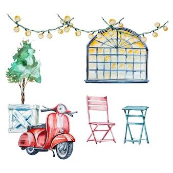 Akwareli retro cukierniana zewnętrzna ilustracja z starym hulajnoga, stołami i krzesłami outdoors.