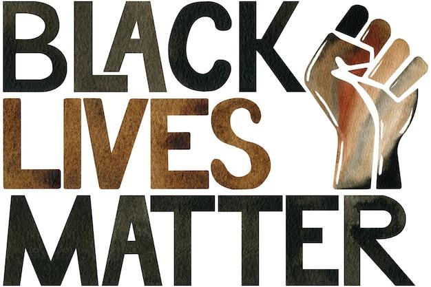 Akwarelowa ilustracja logo aktywizmu protestacyjnego blm z czarnym życiem