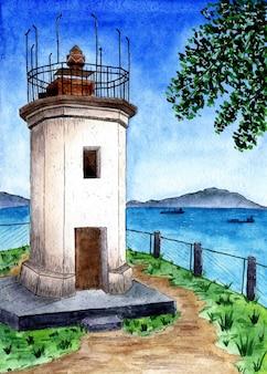 Akwarelowa pocztówka latarnia morska stryj na tle gór i zatoki ze statkami