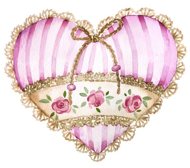 Akwarelowe serce w paski z różami i szydełkowanymi brzegami