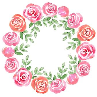 Akwarelowy wieniec z kwiatami świątecznych bukietów i poszczególnych elementów bukietów
