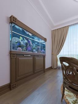 Akwarium do zabudowy z szafką pod nim w klasycznym stylu w drewnianej ramie. renderowania 3d.