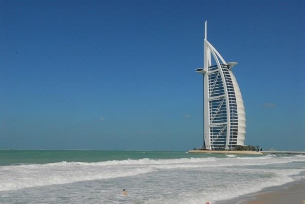 Al hotel dubai plaża horyzont, niebo, morze, arab burj
