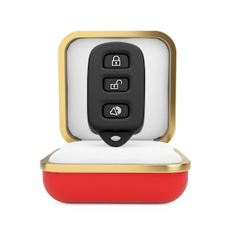 Alarm samochodowy pilot zdalnego sterowania w czerwonym pudełku na białym tle. renderowanie 3d