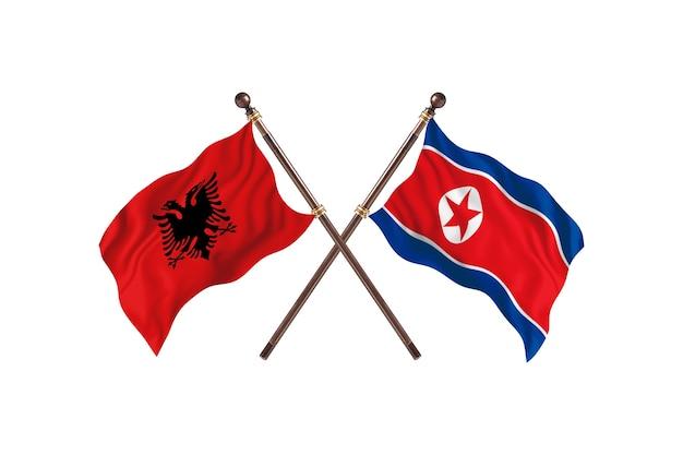 Albania kontra korea północna dwie flagi