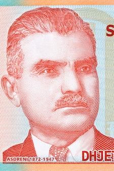 Aleksandar stavre drenova portret z albańskich pieniędzy