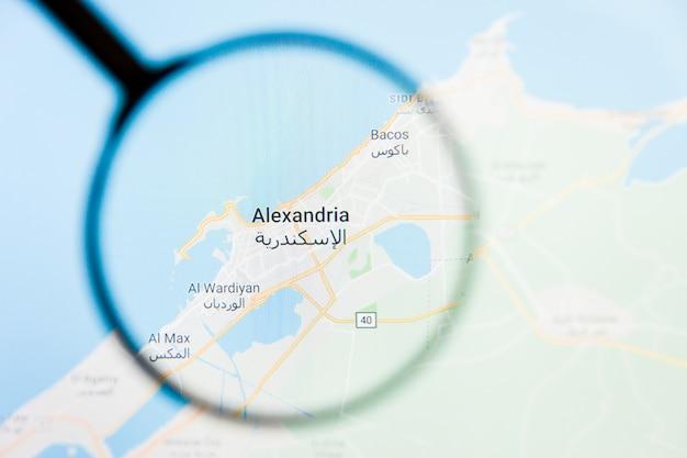 Aleksandria, egipt wizualizacja miasta wizualizacja na ekranie wyświetlacza przez szkło powiększające