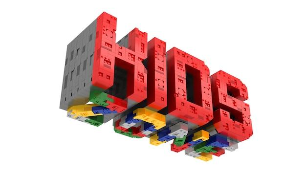 Alfabet kolorowe dzieci strefy bloku typu cegły perspektywy czcionki 3d renderowania