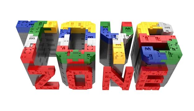 Alfabet kolorowe zabawek strefa bloku typu cegły perspektywy czcionki 3d renderowania