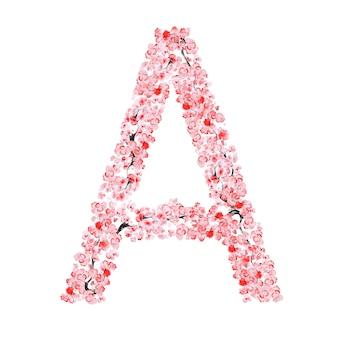 Alfabet kwiatów sakury. litera a