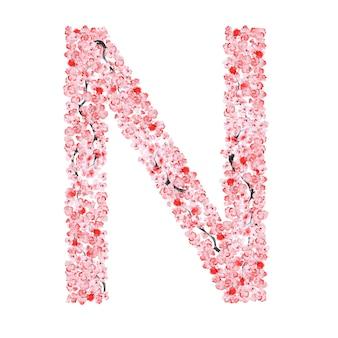 Alfabet kwiatów sakury. litera n