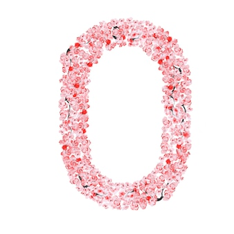 Alfabet kwiatów sakury. litera o