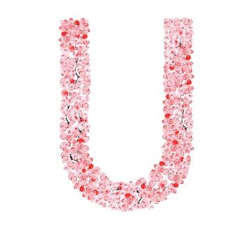 Alfabet kwiatów sakury. litera u