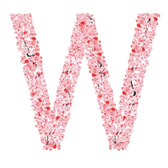 Alfabet kwiatów sakury. litera w